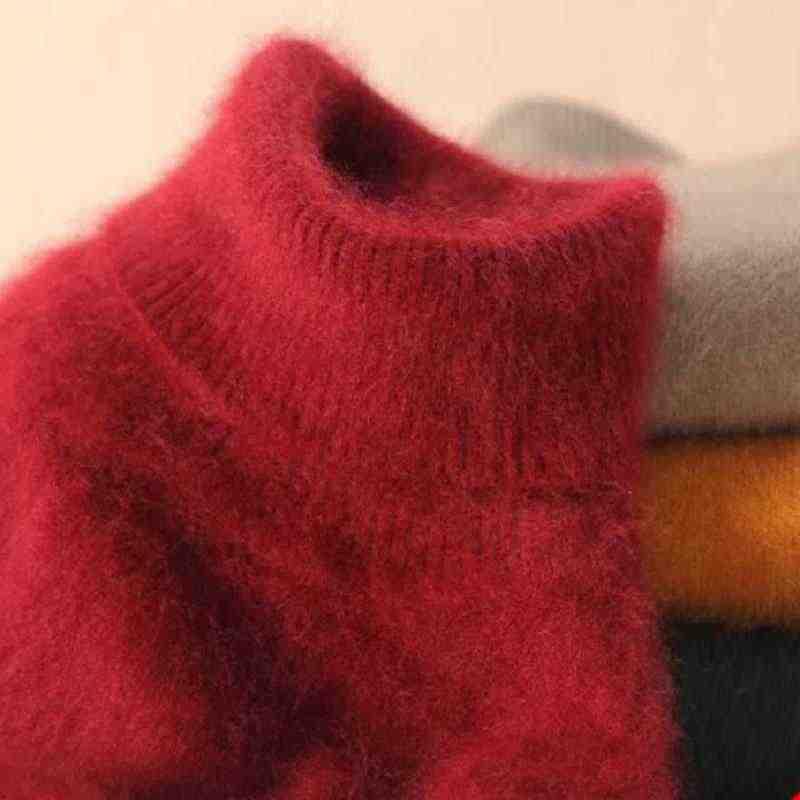 2019 Marten Chồn Nhung Áo Len Cao Cổ Áo Thun Cổ Ngắn Thiết Kế Ôm Gọn Cơ Bản Dệt Kim Nhiệt nữ Cashmere Áo Len