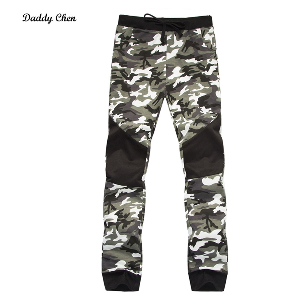 2018 military Winter skinny camouflage Spliced Sweatpants men tactical army green jogger trousers male sweat cargo track pants