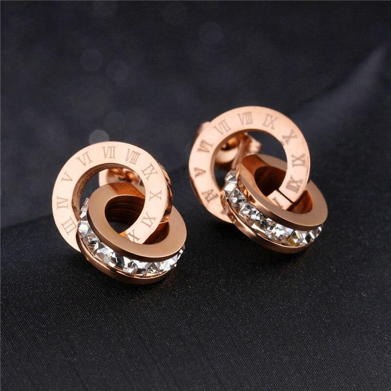 Trendy Stud Earings Fashion Jewelry 2017 Rose Gold Bulgaria Earrings for Women Stainless Steel AAA Zirconia Stud Round Earrings