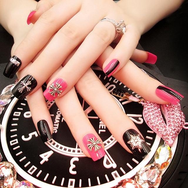Nueva moda remache Decoración de uñas de arte uñas postizas novia ...