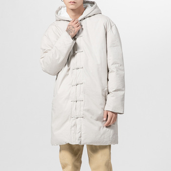 Winter Chinese-Style Men's Hooded Cotton-Padded Clothes Male Vintage Chinese Frog-Button Thick Cotton-Padded Jacket And Long Sec