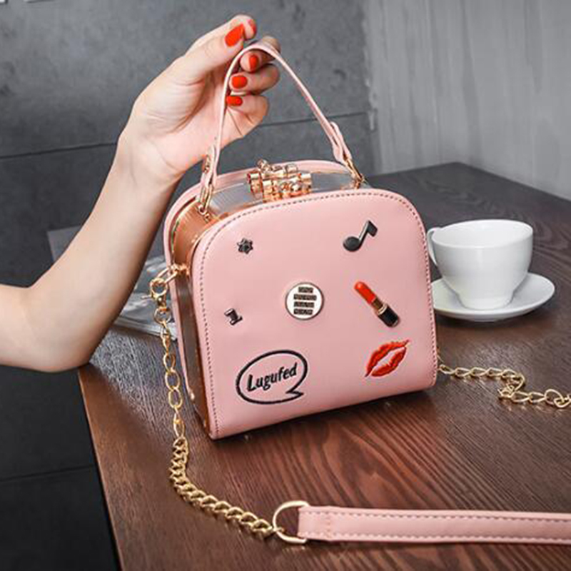 Chains Shoulder Bag Designer Rivet Crossbody Bags Women Small High Quality PU Leather Women Handbags Spring New Ladies Bag 2018 famous brand designer 2018 ladies small messenger bags women serpentine leather shoulder bag high quality chains crossbody bags