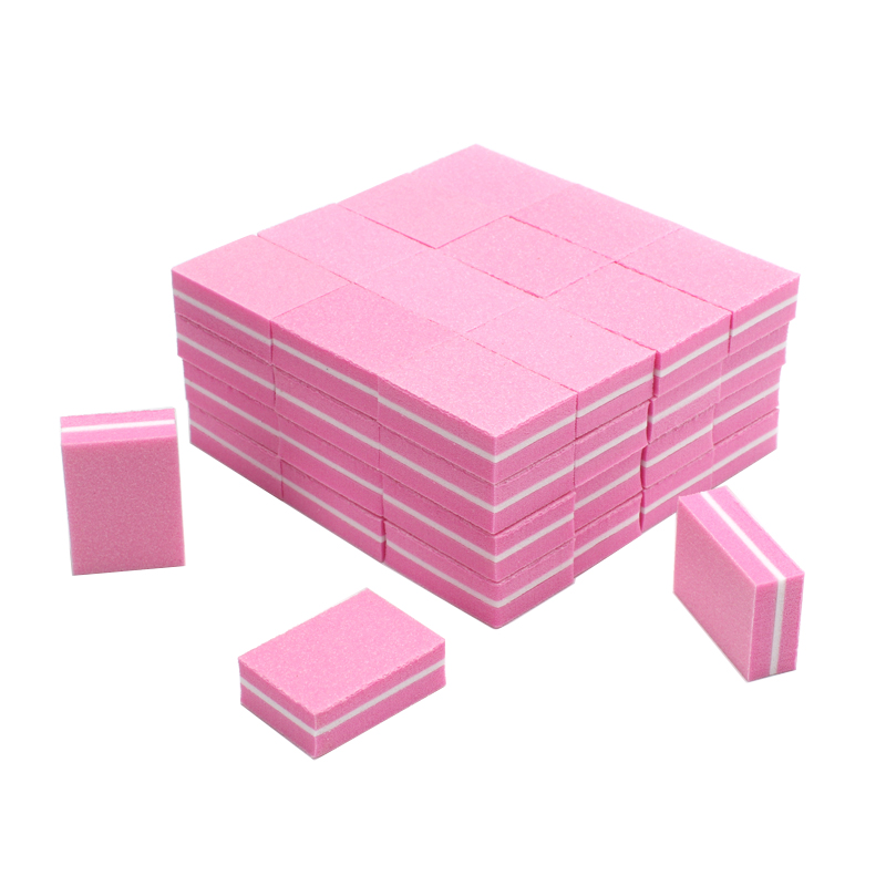 20pcs/lot Professional Nail File Mini Nail Buffer Sponge Pink Form Sanding Blocks UV Gel Polish Manicure Tools Nail Buffing File