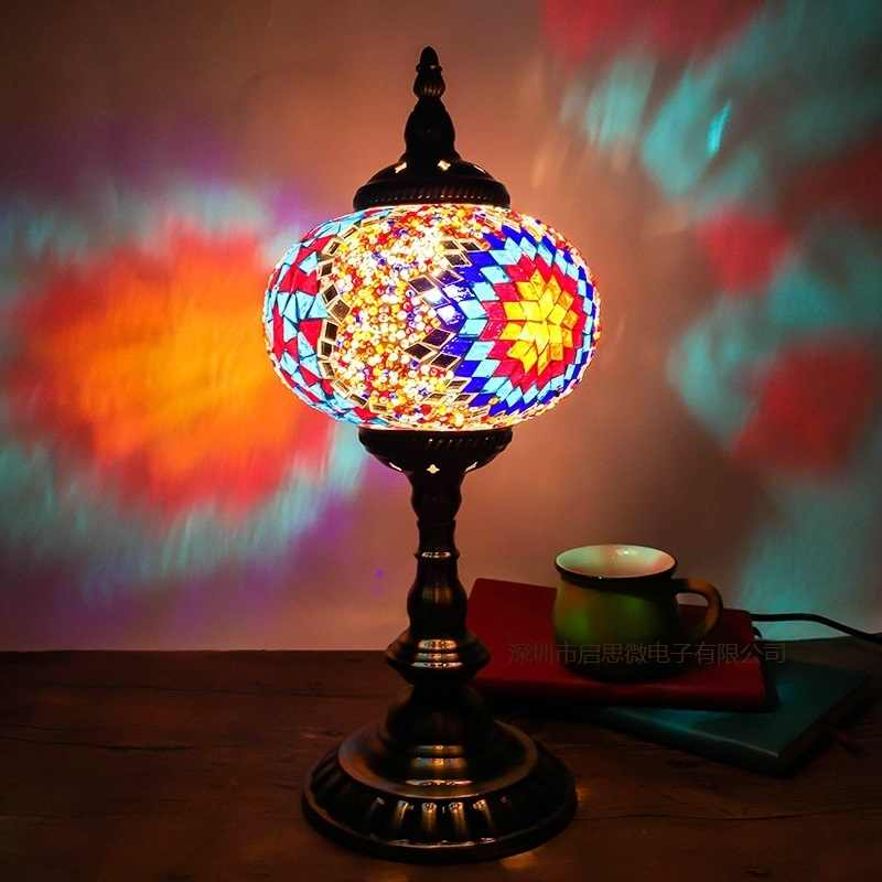 Средиземноморский Морской стиль Турецкая мозаика лампы для спальни чтения Ретро Настольная лампа абажур ручной работы витражные стеклянные огни