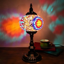 Mosaic table lamp Mediterranean Sea Style stained glass lamps Handmade Glass Lampshade mosaic turkish light fixtures