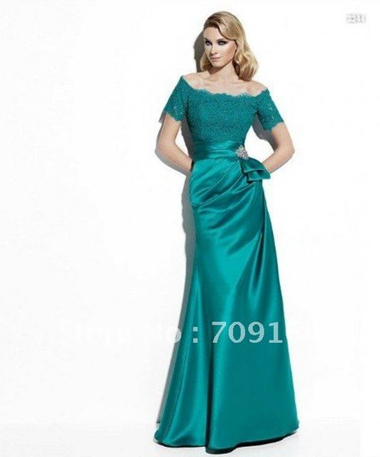 24fe1985c7c FM249 Elegant Off Shoulder Short Sleeve Lace Satin Turquoise Dress Mother  Of The Bride Free Shipping
