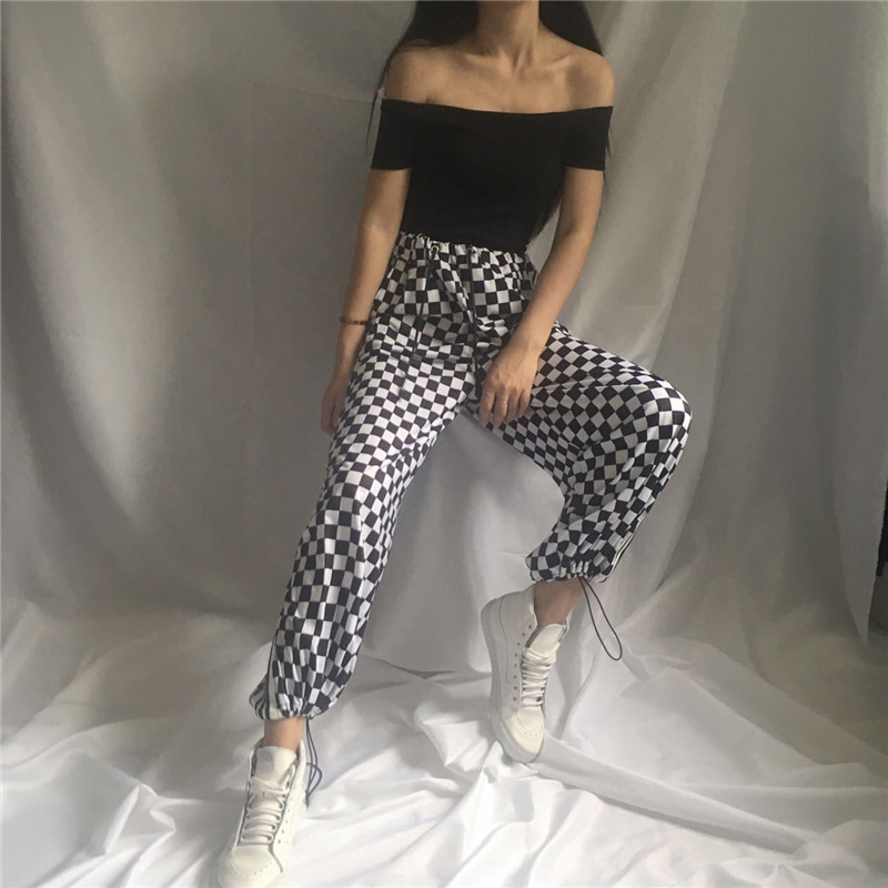 Ins Fashion Harajuku Loose Checkerboard   Wide     Leg     Pants   Punk Black White Squares Cool Couple Street Trousers Casual Loose   Pants
