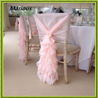 Marious Wedding Chair Hood 50pcs Chiffon Chair Sashes Wedding Ruffled Chair Hood Curely Chair Cover Sashes