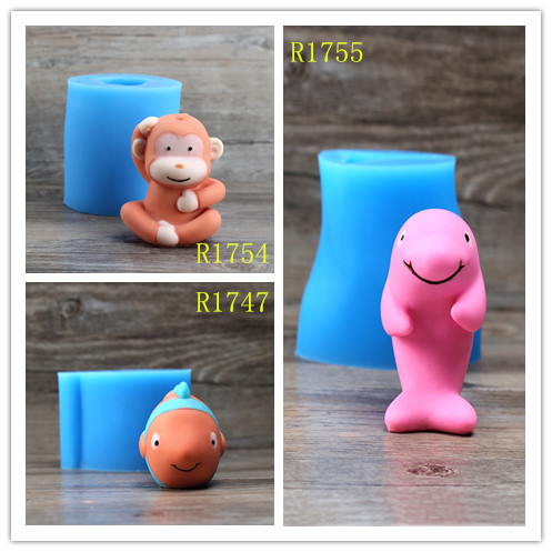 Nicole Silicone Flexible Candle Soap Chocolate Fondant Cake Cartoon Monkey Goldfish Dolphin Animal Easy Outlet Mould In Molds From Home Garden On