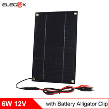 ELEGEEK Solar Panel 12V 6W Semi Flexible Solar Panel Charger for 12V Battery with Battery Clip 2pcs/lot