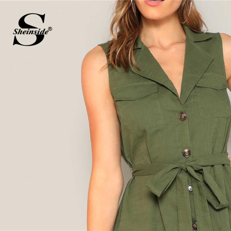 Sheinside zieleń wojskowa ząbkowany kołnierz koszula sukienka kobiety lato bez rękawów z paskiem proste panie biurowe odzież robocza Mini sukienka