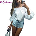 Eastdamo New 2017 Sexy Off Shoulder Blouses Women Long Latern Sleeve Slash Neck Tops Elegant Girls Loose Blouses Blusas Shirts
