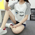 Unique Cute Stripes Eyes Pattern O-Neck Women Short Sleeves T-Shirt Female Soft Cotton Loose Summer Casual Print Tops Tee Shirt