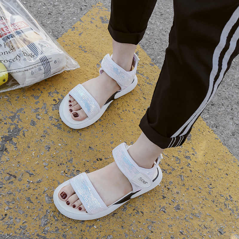 59b1db51f4527d Fashion Summer Platform Sandal 2018 Canvas Open Toe Women Sandals Hook Loop  Flat with Designer Shoes