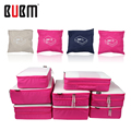 BUBM foldable eight piece traval bag clothes Tshirt underwear bra jean coat receiving bag big capacity blue rose beige 1 2 layer