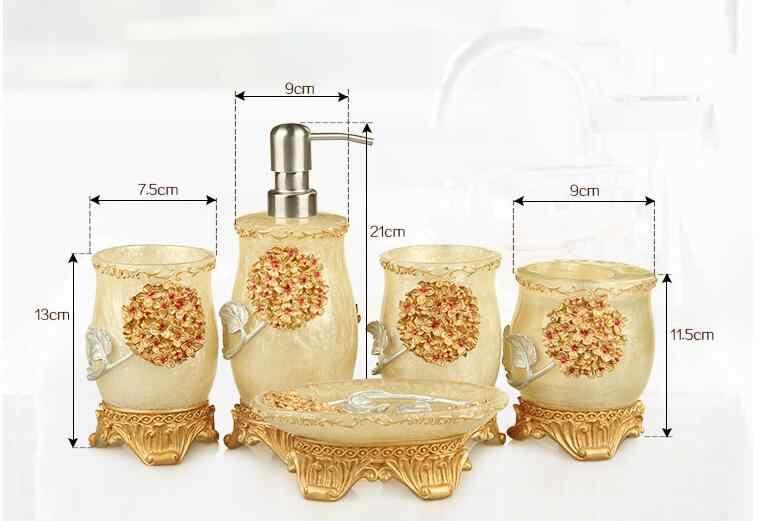 5 sztuk ślub łazienka zestaw akcesoria łazienkowe z żywicy zestaw dozownik mydła w płynie/uchwyt szczoteczki do zębów/Tumbler/mydelniczka łazienka produkty