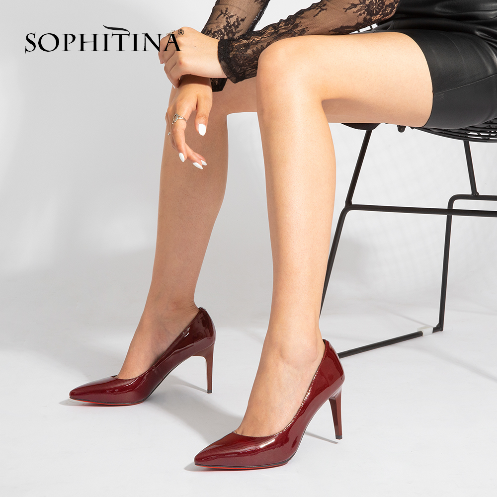 SOPHITINA Elegant Pumps Bordeaux Patent Leather Thin Heels Pointed Toe New Girl Wedding Pumps High Heel Sheepskin Shoes Women W2