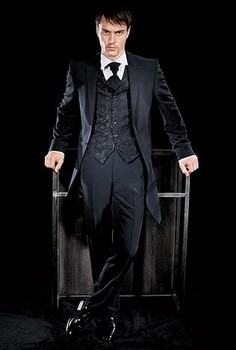 Long Black Coat Groom Tuxedos Groomsman Costume Man Business Suits Prom Dress Suits (Jacket+Pants+Vest+Tie) NO:0100
