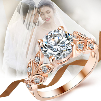Crystal Silver Color Rings Leaf Engagement Gold Color Cubic Zircon Ring 1