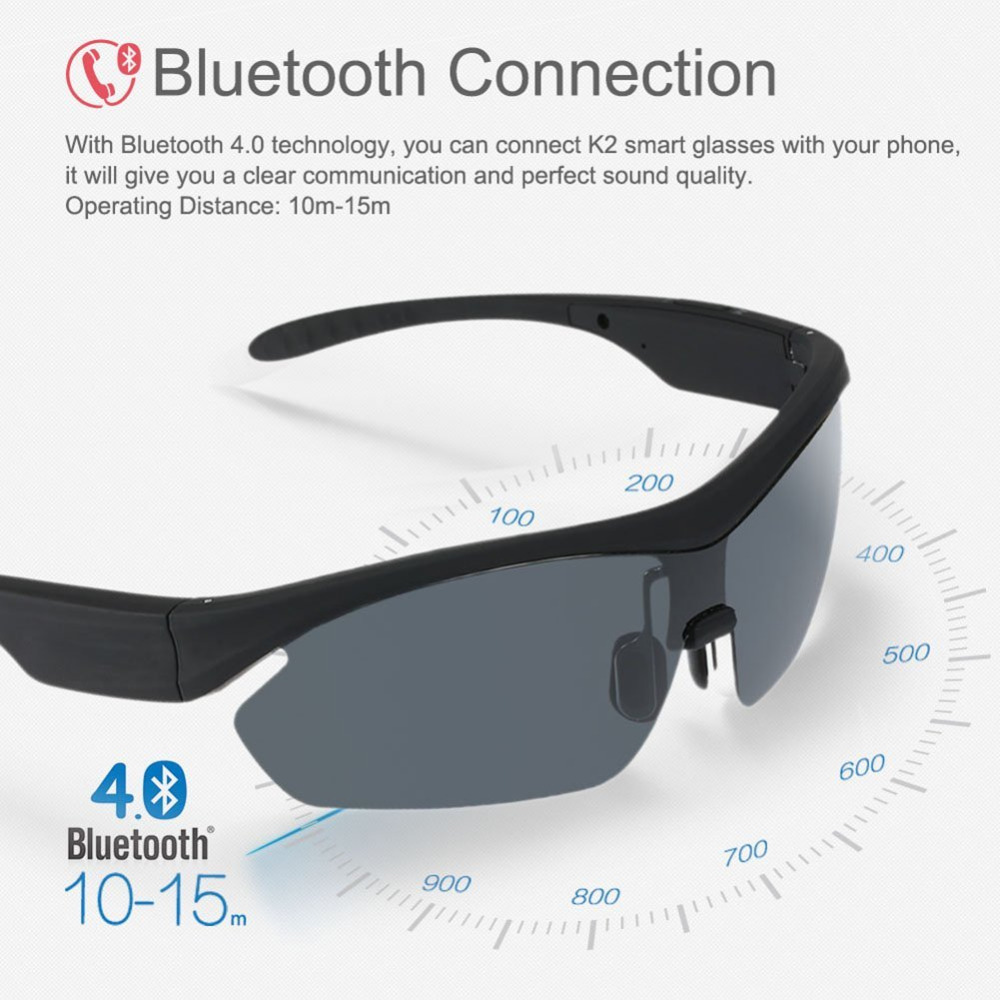 K2 Polarized Glasses Sunglasses Bluetooth Earphone SmartTouch Stereo Music Headset Wireless earphone Voice Control Handfree Mic