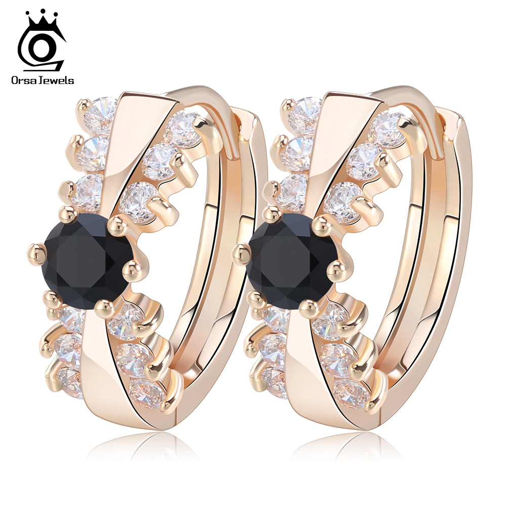 ORSA JEWELS Classical Women Gold-color Earring with 14 Pieces Clear/Black Cubic Zirconia Stud Earrings for Pierced Ear OME29