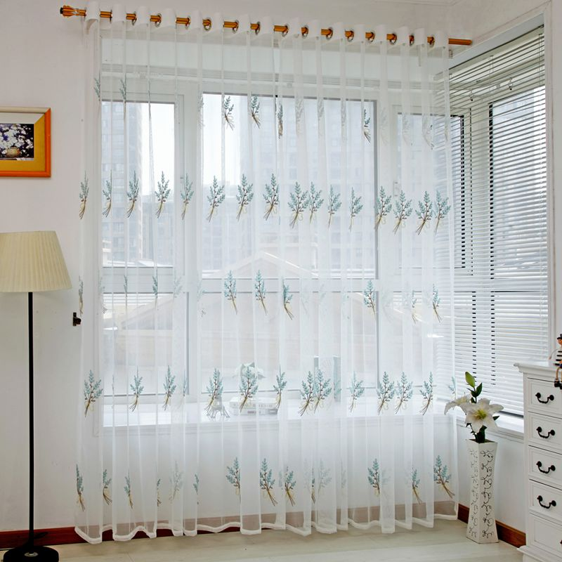 Fashion Line Embroidered Sheer Tulle Curtain For Living Room Bedroom White  Voile Curtains Fabric Drapes For
