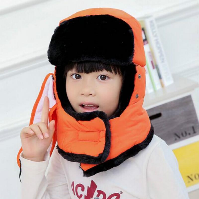 Которая в душе семья мех бомбер шляпа для женщин и мужчин ушные щитки Русская Шапка Детская уличная теплая утолщенная зимняя шапка с шарфом маска - Цвет: kids orange