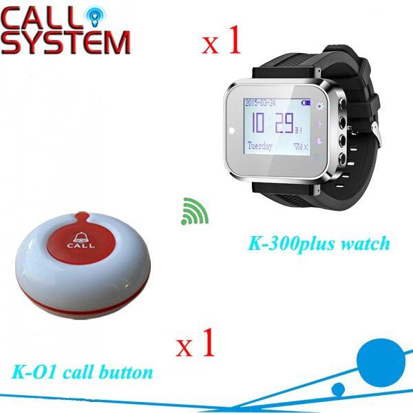 Продажа беспроводная система оповещения для банка ресторан 1 наручные часы 1 кнопка вызова для испытания образца