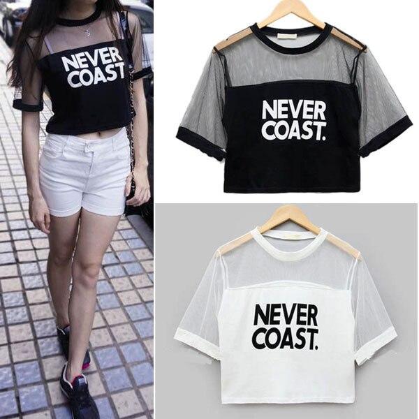 2019 Kadın T-Shirt Kırpma Üst Gömlek Kollu Örgü See-through - Bayan Giyimi - Fotoğraf 2