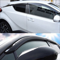 Black Silver Window Visor Sun Guard Rain Vent Deflector Shield Accessories For Toyota C HR CHR