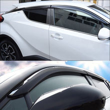 Preto-prata Janela Pala de Sol Guarda Chuva Ventilação Escudo Defletor Acessórios Para Toyota C-HR CHR 2017 2018