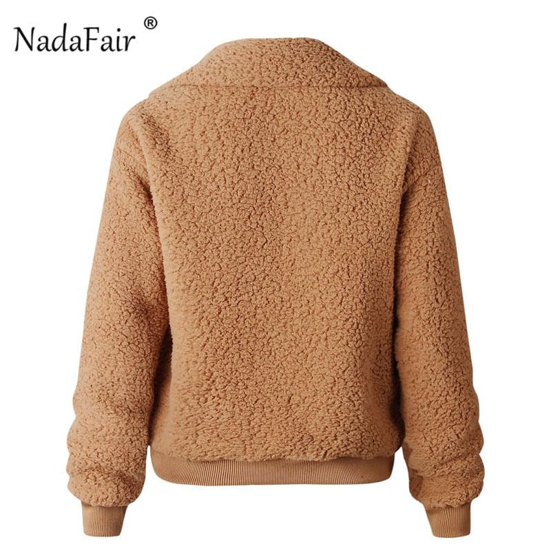 Nadafair Faux Fur Coat Women Autumn Winter Fluffy Teddy Jacket Coat Plus Size Long Sleeve Outerwear Turn Down Short Coat Female 17
