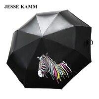 2016 New Fashion Strong Change Color Zebra Three FoldingCompact Sunny Sun Shade Rain Vinyl Ladies Female