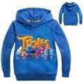 Os trolls das crianças dos desenhos animados hoodies & camisolas meninos/meninas algodão topwear crianças outerwear crianças manga longa clothing (3-7a) h685