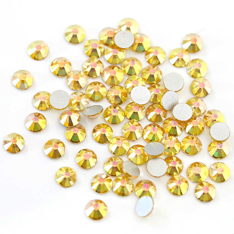 ... 2028 SS3-SS30 Sunshine Glass Non Hot Fix Rhinestones Gold Glitter  Rhinestones Glitter Diamond For ... 7be80df8ff39