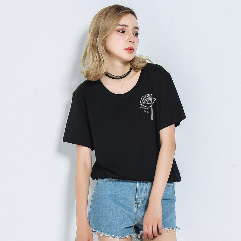 Simple Rose Print Women T Shirt Casual Short Sleeve O Neck Funny T shirts For Lady Top Tee Hipster Tumblr Female TShirt KaTx77
