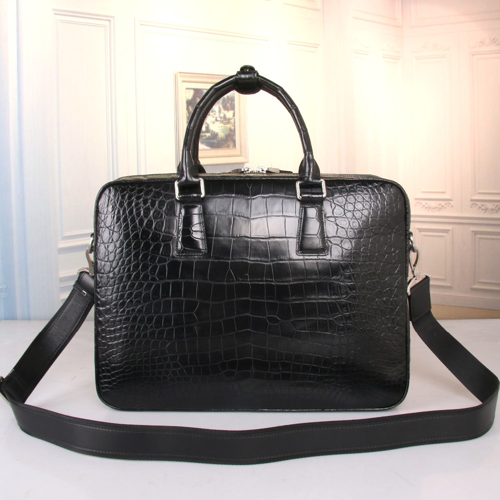 Handbag Briefcase Businessmen's Shoulder-Bag Crocodile Male Zipper Closure Belly-Skin