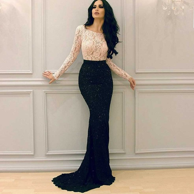 Black And White Lace Mermaid Evening Dresses Long Sleeve Two Piece