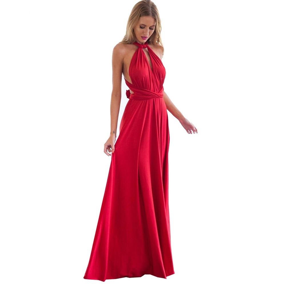 Robe sexy style Multiway pour femme, drapé rouge à nouer, pour s'envelopper dans un long fourreau genre bohème, parfaite pour demoiselles d'honneur, transformable, modèle très féminin pour les fêtes