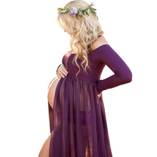 Pregnancy Dress Photography Props Dresses For Photo Shoot Maxi Gown Dresses Maternity Clothes For Pregnant Women Premama Vestido cheap None Ankle-Length Solid Chiffon XEIOBB Shoulderless Sleeveless Natural Color Casual Ball Gown Polyester