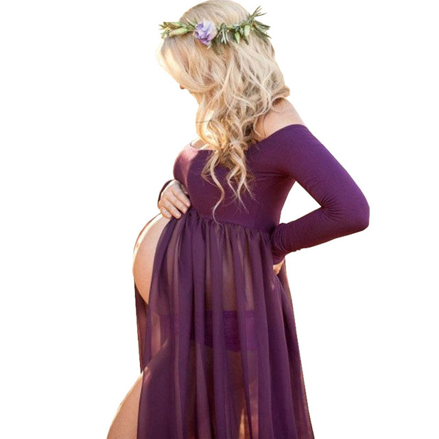 Front Open Pregnancy Dress For Photo Shoot
