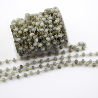 5x8mm Labradorite Stone Rondelle Faceted Beads Chain DIY Charms with Bronze Brass Link Bracelet Connector
