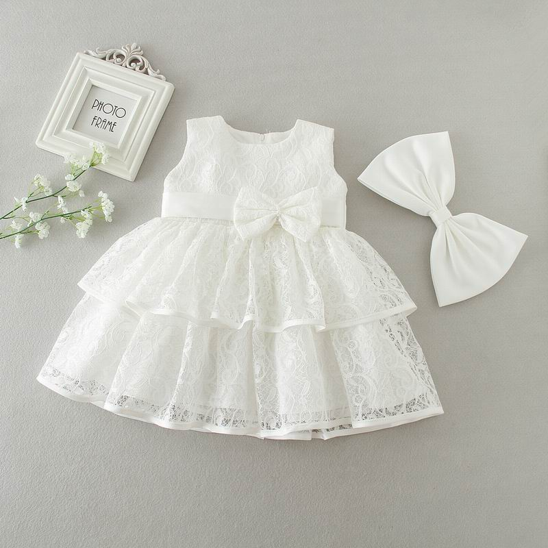 Baby Girls Dresses Summer Bow Tiered Lace Bow Party Princess Dresses Wedding Dress Birthday Dress Kids Clothes 9161