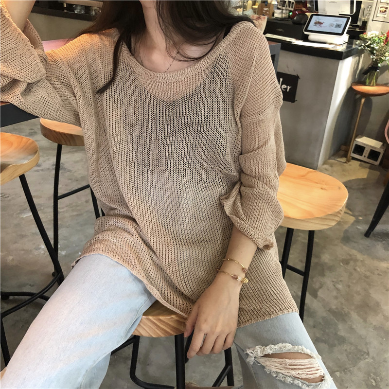 Women's Sweater Pullover 2019 Spring Summer New Loose Large Size Knit Sweater Women Sexy Fashion Shirt Thin Section Top Female