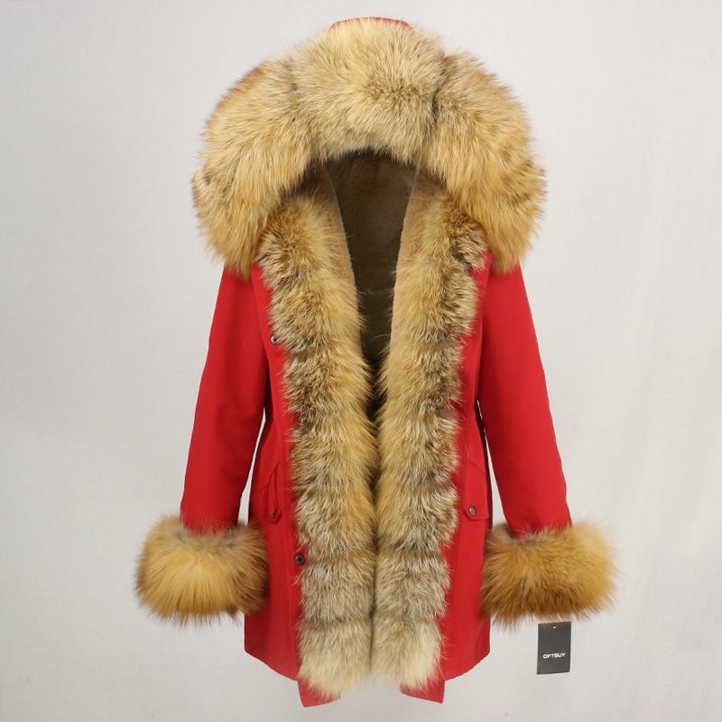 OFTBUY Waterproof Long Parka Winter Jacket Women Real Fur Coat Natural Fox Fur Collar Hood Thick Warm Streetwear Detachable New 45