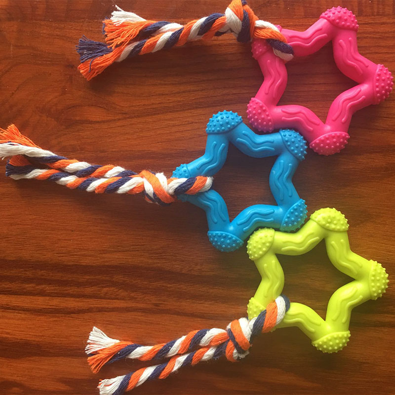 New Star Knot Interaction Pet Dog Interactive Toy Chewing Pentagram Natural Rubber Durable Shape Small Dog Training Chewing Play in Dog Toys from Home Garden