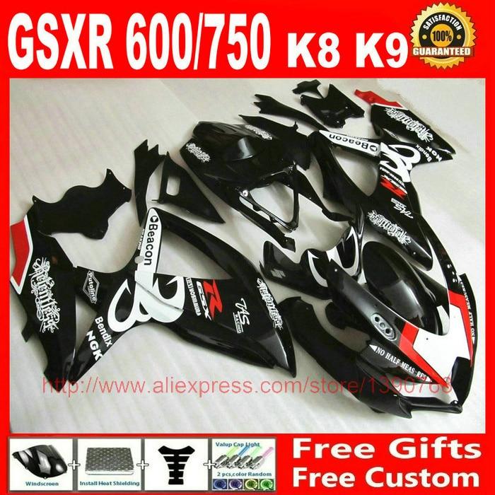 plastic Fairing kit for Suzuki GSXR600 GSXR 750 08 09 10 white black Beacon fairings set K8 GSXR 600 750 2008 2009 2010 BM90