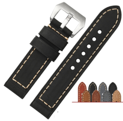 Shihui man's Retro Leather Watch Strap with calf hide thick and lengthened calf leather strap button chain 24 26MM black цена 2017