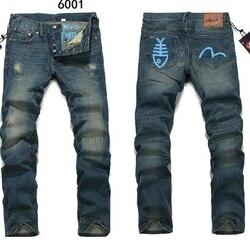 Evisu Дышащие Модные мужские штаны наивысшего качества теплые джинсы прямые с принтом для отдыха рыбий узор средняя талия мужские брюки