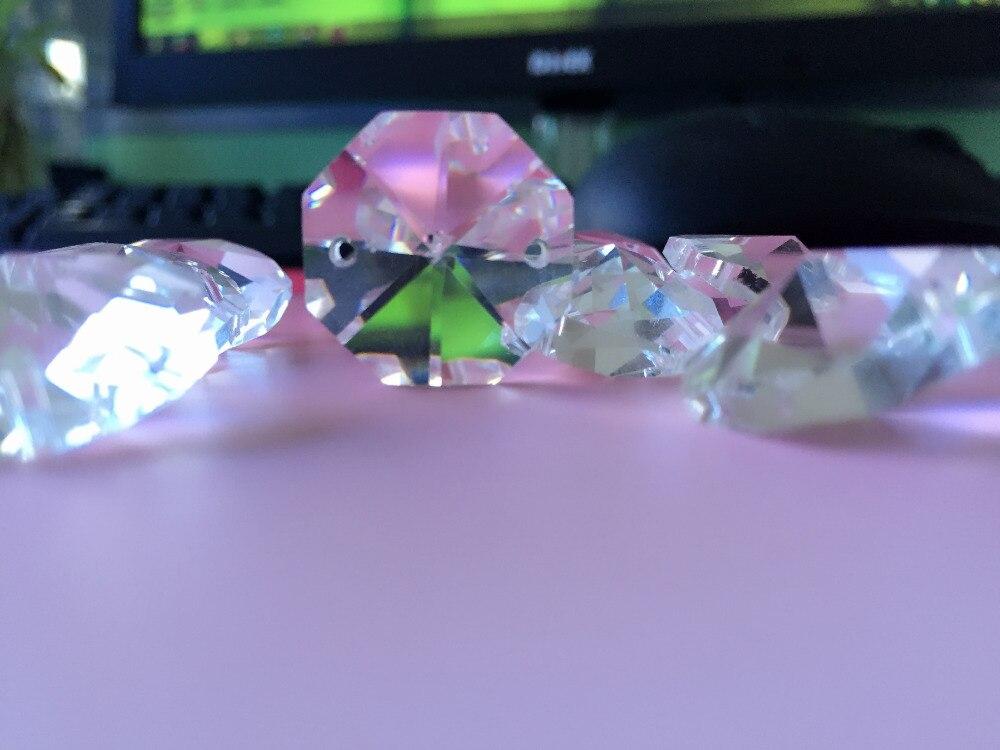500 unids/lote 20mm cristal prisma Octágono en 2 agujeros DIY ...